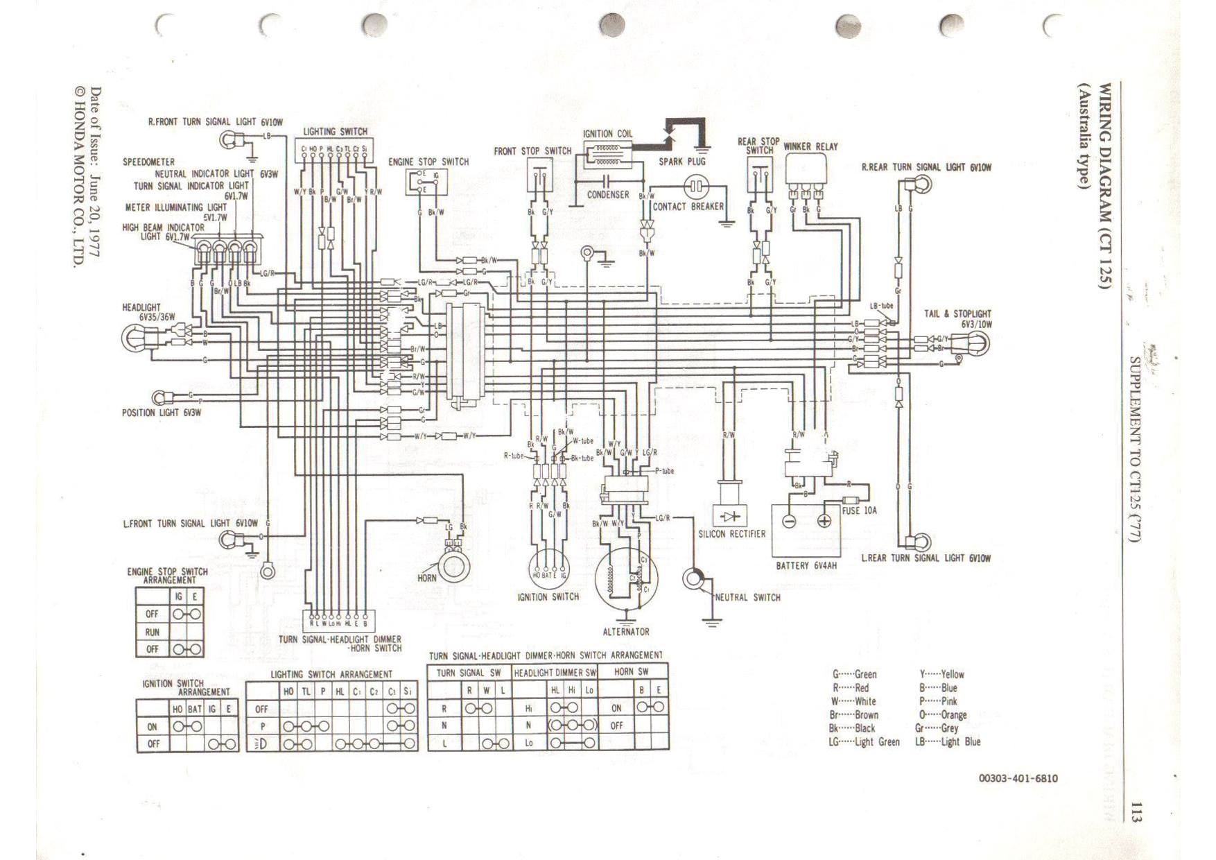 The 1977 Honda CT125 wiring diagram... Simple as far as motorcycle wiring  goes